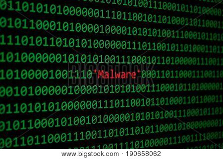 Red Malware And Binary Code Concept Security And Malware Attack.