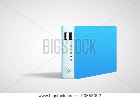 illustration of blue color powerbank with shadow on bright backgorund