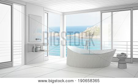 Unfinished project of minimalist bathroom with big window sketch abstract interior design, 3d illustration