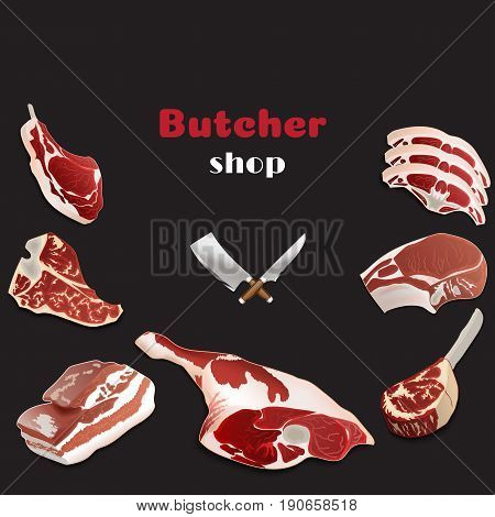 Design Template For Meat Market.butcher Shop Background. Advertising Poster For A Fresh Meat Shop In