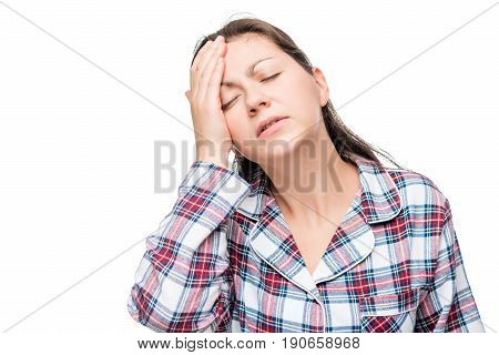 Portrait Of A Woman With A Strong Migraine, Massage Fingers With A Temple On A White Background