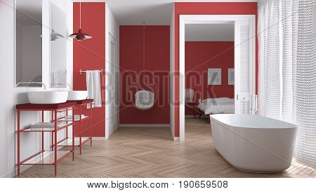 Minimalist white and red scandinavian bathroom with bedroom in background classic interior design, 3d illustration