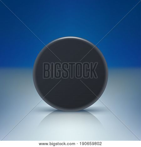 illustration of black color puck on rink with soft shadow and reflection