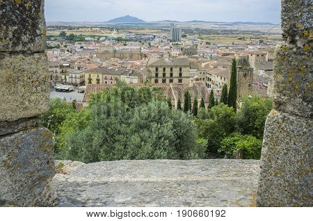 View from battlement Castle to the centre of medieval Trujillo town Spain. Extremadura
