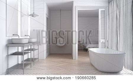 Unfinished project of white scandinavian bathroom with bedroom in background sketch abstract interior design, 3d illustration