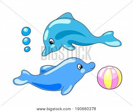Cute dolphins with playing ball vector illustration in cartoon style. Blue dolphins playing clipart. Dolphin isolated on white background. Sea animal mascot. Marine logo. Smiling dolphins underwater