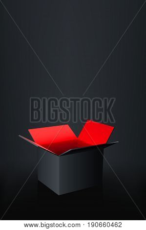 illustration of black box with red color inside on dark background