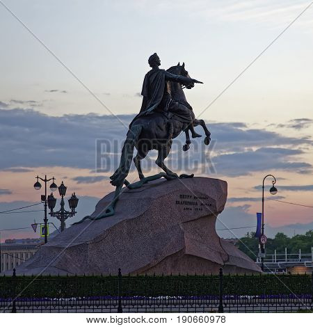 Monument of Peter the First in Saint Petersburg, Russia. Sunset during the white nights.