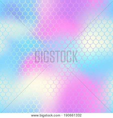 Mermaid seamless pattern vector background. Mermaid tail with fish scale seamless pattern for packaging or surface design. Fantastic nautical seamless background for nursery design. Colorful mesh tile
