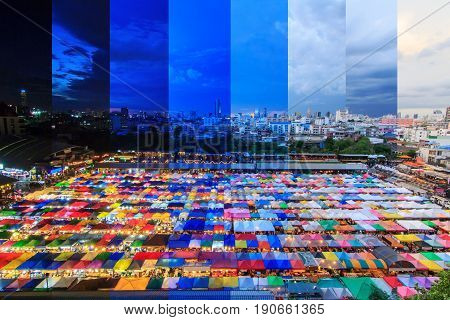 different shade color top view of Canvas tent at the outdoor market / different time in one frame