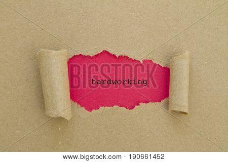 HARDWORKING word written under torn paper .