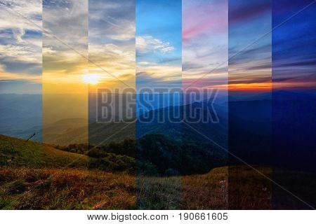 different shade color of mountain in different time / different time in one frame
