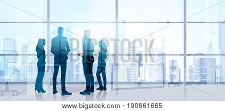 Silhouette Business People Team Stand Talking Seminar Training Conference Brainstorming In Modern Office Flat Vector Illustration