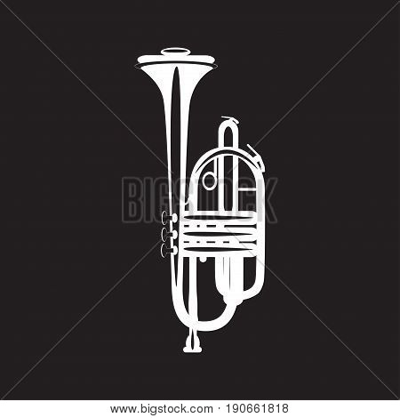 White trumpet isolated on black background vector illustration. Wind brass musical instrument in flat style.