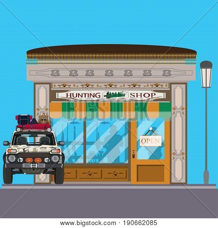 Vector illustration of hunting shop facade and hunter car. Hunting store exterior and showcase with hunt equipment. Flat style design.