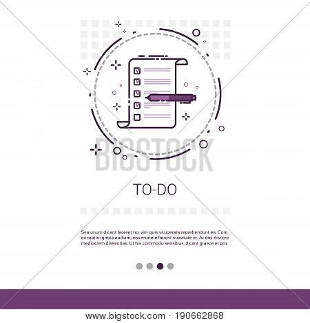 To Do Check List Paper Document Web Banner With Copy Space Vector Illustration