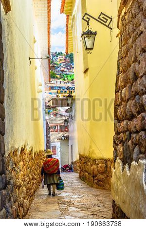 Cusco, PERU - street view of the ancient city, once the historic capital of the Inca Empire