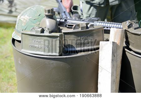 WROCLAW POLAND - JUNE 3: Reconstruction groups rally. Militarians fan gathering people in uniforms historical vehicles and weapons. Weapon mines helmet and equipment from Vietnam War on June 3rd 2017 in Wroclaw.