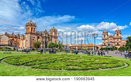 CUSCO, PERU - 25 APRIL 2017: Cusco, Peru - - Plaza de Armas and Church of the Society of Jesus or Iglesia de la Compania de Jesus