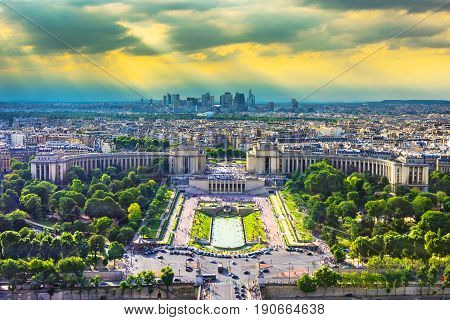 Pnoramic view over Paris from Eiffel Tower, France