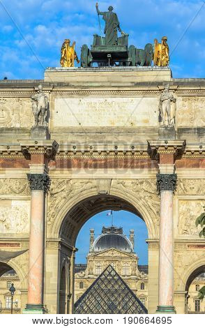 The Arc de Triomphe du Carrousel is a triumphal arch in Paris, located in the Place du Carrousel on the site of the former Tuileries Palace.