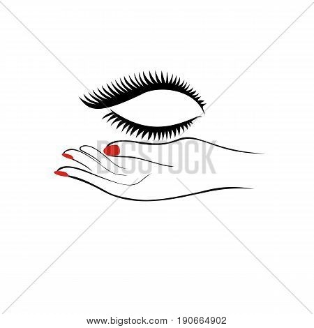 Female hand with manicure hold eyelashes. Fashion salon logotype. Vector illustration.