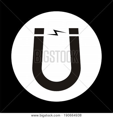Single magnet sign in white circle. Vector