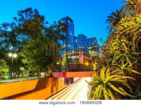 Santiago, Chile - Night view of streets with high profile corporate and office buildings