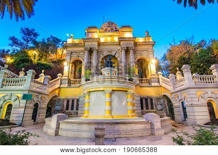Chile, Santiago, View of the Neptune Fountain and Terrace on the Santa Lucia Hill