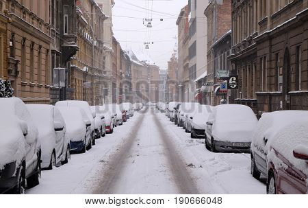 ZAGREB, CROATIA - JANUARY 03: The streets covered in snow, Zagreb, Croatia January 03, 2016