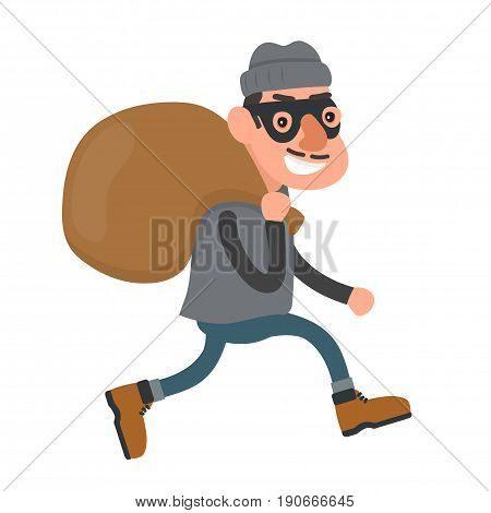 Happy smiling thief robber runs with a bag. Vector flat cartoon character modern style illustration icon drawing Isolated on white background