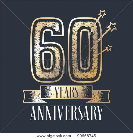 60 years anniversary vector icon, logo. Graphic design element with ribbon and golden color and grunge texture number for 60th anniversary ceremony