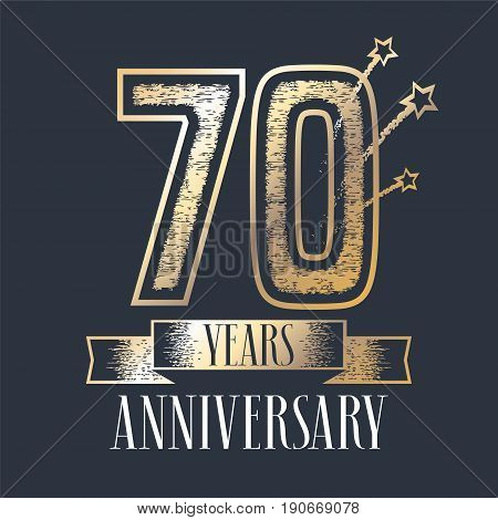 70 years anniversary vector icon, logo. Graphic design element with ribbon and golden color and grunge texture number for 70th anniversary ceremony
