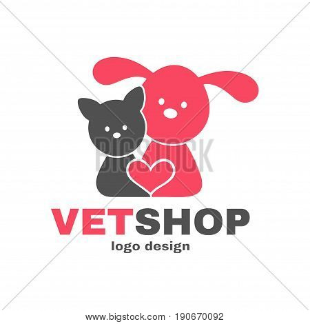 Vetshop logo design templete. Vet shop veterinarian veterinary animals pets concept. Vector flat modern style illustration cartoon icon. Dog cat heart. Isolated on white background