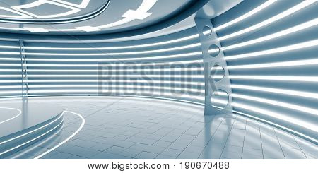 Empty futuristic interior with glossy walls and floor. 3d illustration
