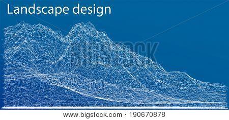 Wireframe polygonal landscape. Blueprint style. 3D Vector Illustration