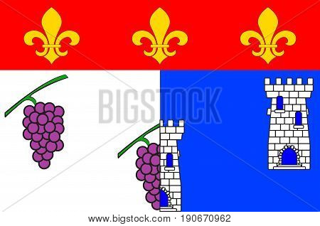 Flag of Les Andelys is a commune in the Eure department in Normandy in northern France. Vector illustration