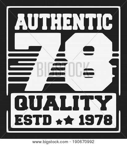 T-shirt print design. Vintage tshirt stamp. Printing and badge applique label t-shirts, jeans, casual wear. Vector illustration.