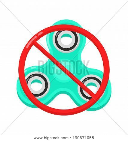 Banned or Not Allowed to Use a Fidget Spinner concept. Vector flat cartoon illustration modern syle icon design. Isolated on white background