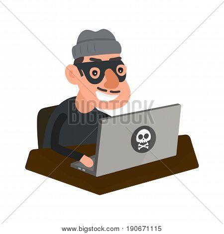 Robber hacker with laptop computer. Vector modern flat style cartoon character illustration icon design.Isolated on white background. Network fraud web pirate russian computer crime hacking