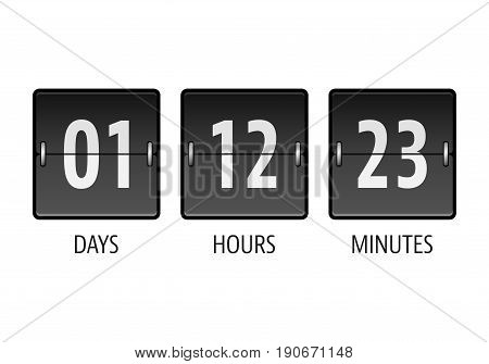 Flip countdown timer with days, hours and minutes isolated on white background. Vector illustration.