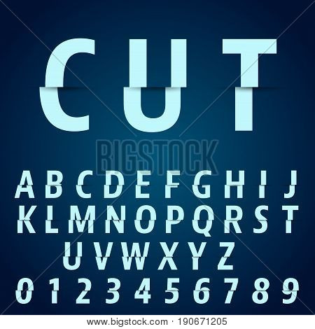 Alphabet font template. Letters and numbers cutting design. Vector illustration.