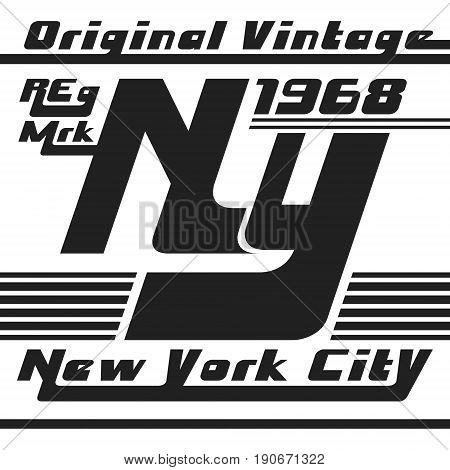 T-shirt print design. New York tshirt vintage stamp. Printing and badge applique label t-shirts, jeans, casual wear. Vector illustration.