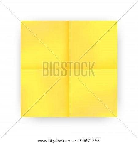 Yellow sticky note with shadow isolated on white background. Blank sticker paper note for memo and notice. Vector illustration.
