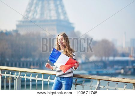 Beautiful Young Girl With French National Flag