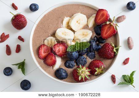 Summer Breakfast - Breakfast Bowl With Strawberries And Blueberries