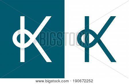 Logo K abstract monogram letter. Vector modern line flat style illustration icon design.Isolated on white background
