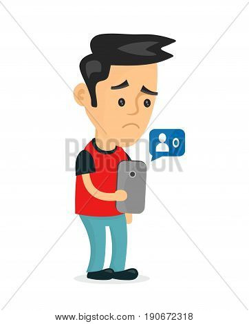 Sad young man holding smartphone mobile phone with sign no friends.Vector modern flat style cartoon character illustration icon design.Isolated on white background. failure in social media network