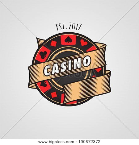Poker, casion vector logo, symbol. Design element with casino chip and cards suits