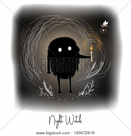 Hand drawn vector artistic creative artwork illustration with black cute monster with candle in night fairy forest. Kind night spirit and firefly care about the forest safety